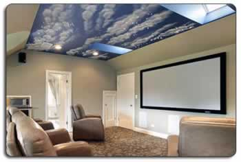 Upper Level Attic Home Theatre Room with Decorative Ceiling
