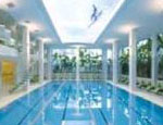 Covered Pavilion Swimming Pools Decorative Ceilings and Accent Lighting