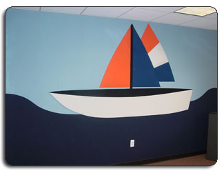 Upholstered Fabric Walls Sail Boat Design